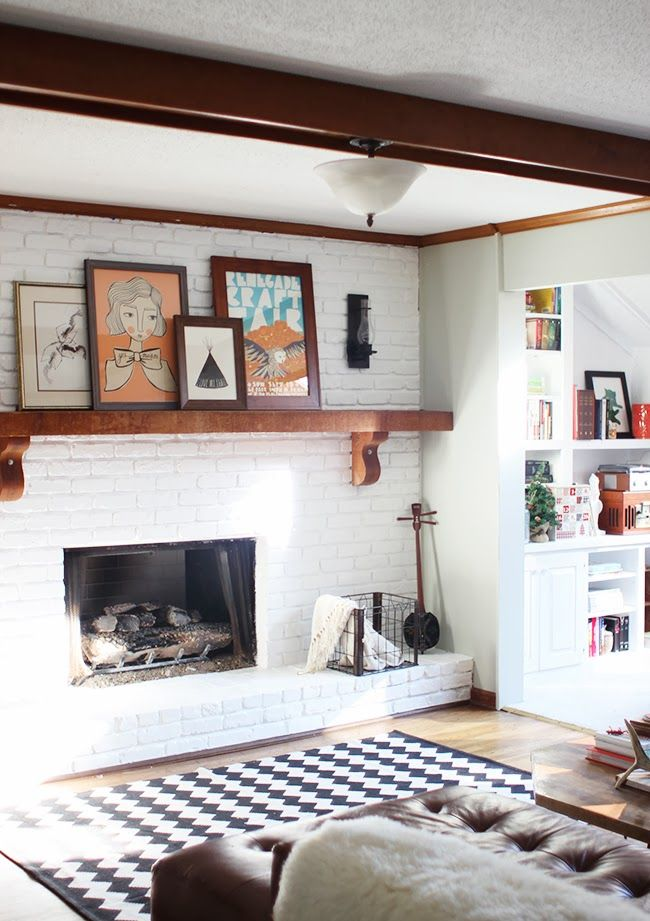 Fireplace makeover tutorial on how to paint your own - Brick wall fireplace makeover ...