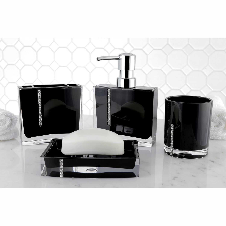 Crystal Bathroom Accessories Inside Crystal Black 4piece Bath Accessory Set By Kingston Brass