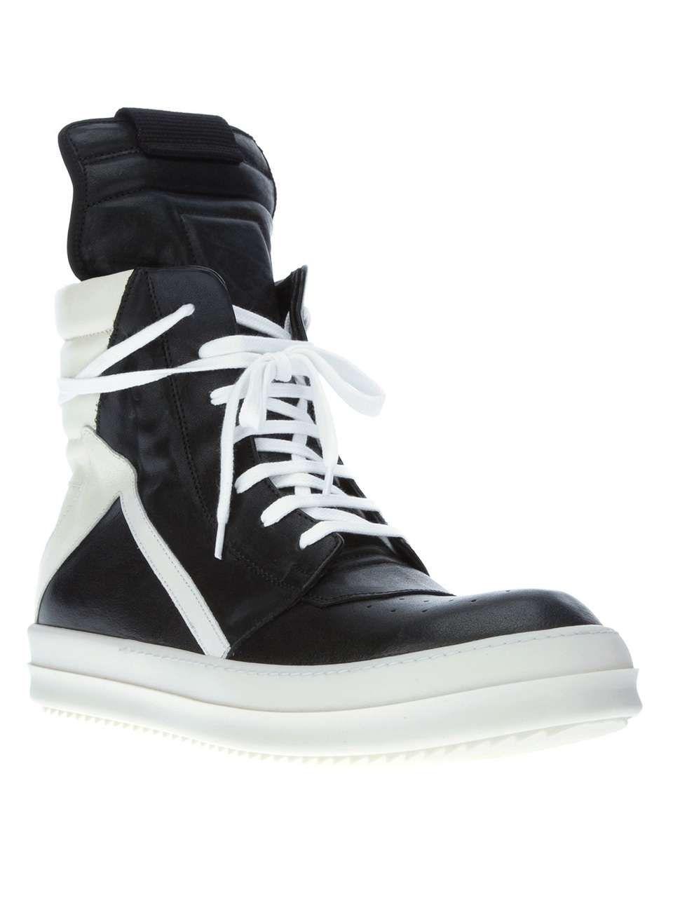 on sale 29014 6f084 Rick Owens bi-colour hi top sneaker | Rick Owens shoes
