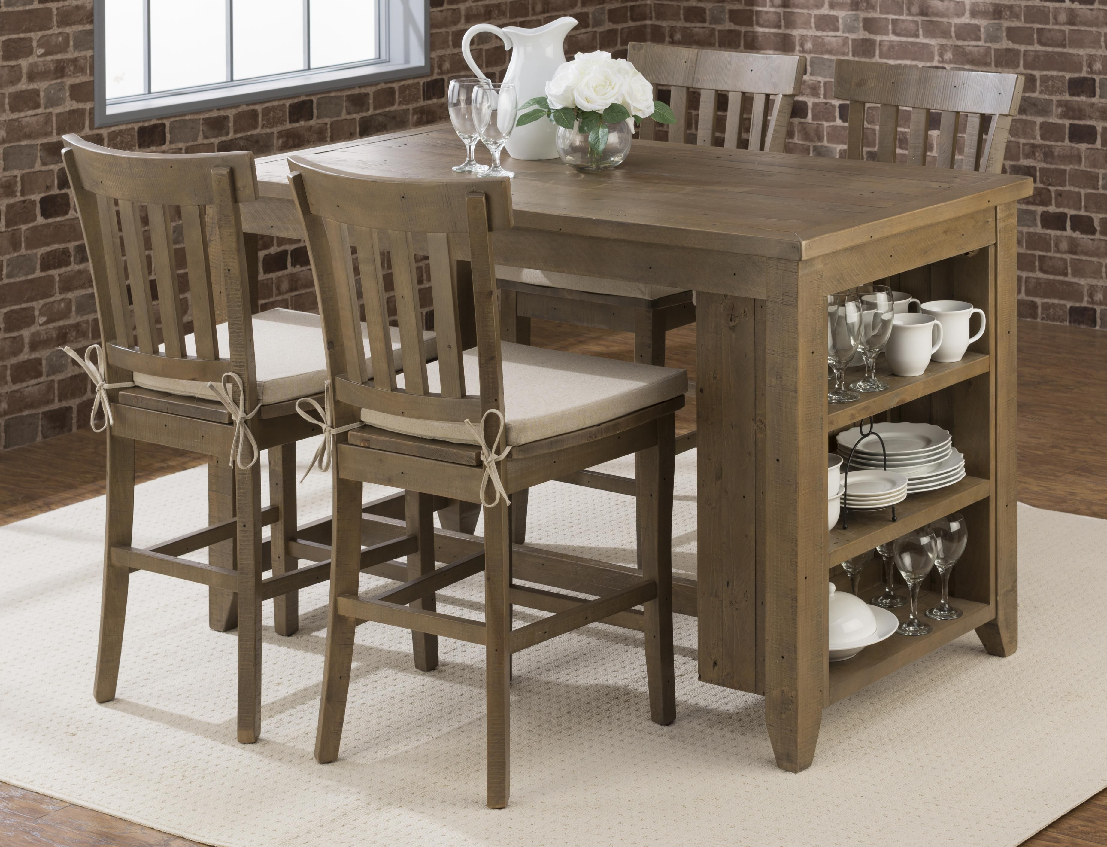 Slater Mill Pine Counter Height Storage Table With Stool Set By Jofran At Furniture Options New Counter Height Dining Table Counter Height Table Pub Table Sets