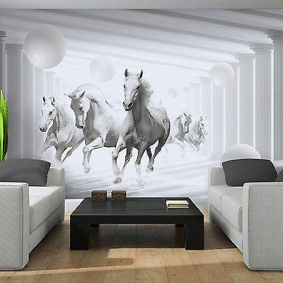 Wundervoll Poster Fototapeten Tapete Fototapete Kugeln Pferd Tier Weiss Wand Bild 3087  P4