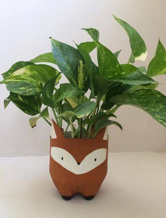 Vaso Para Plantas Aproveitando Fundo De Garrafas Pet