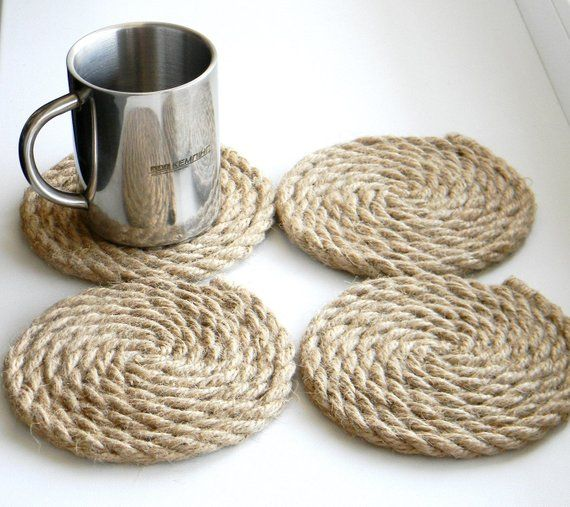 Photo of Rope Coaster..set of 4 Jute Rope Coasters..Nautical Decor..wine mats or coasters..Cocktail mats..Eco Friendly..(5.3 inches)