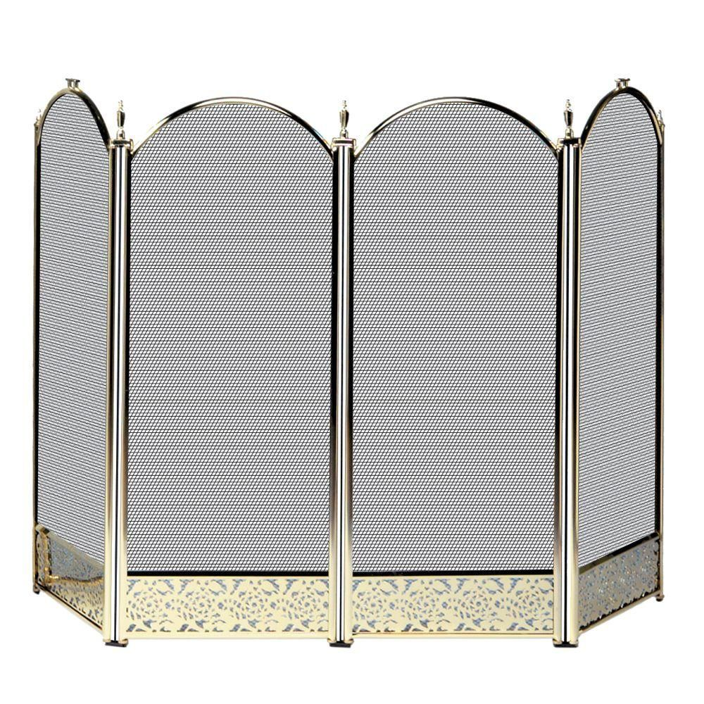 Uniflame Antique Brass 4 Panel Fireplace Screen With Decorative