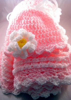 Beautiful reversible crochenit baby blanket and hat with crocheted flower