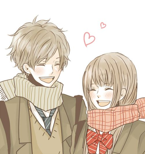 cute anime couple laughing together romantic having fun ...