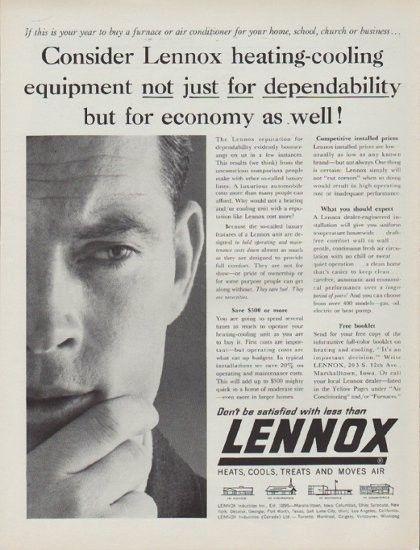 1962 Lennox Vintage Ad Consider Lennox Heating Cooling Equipment