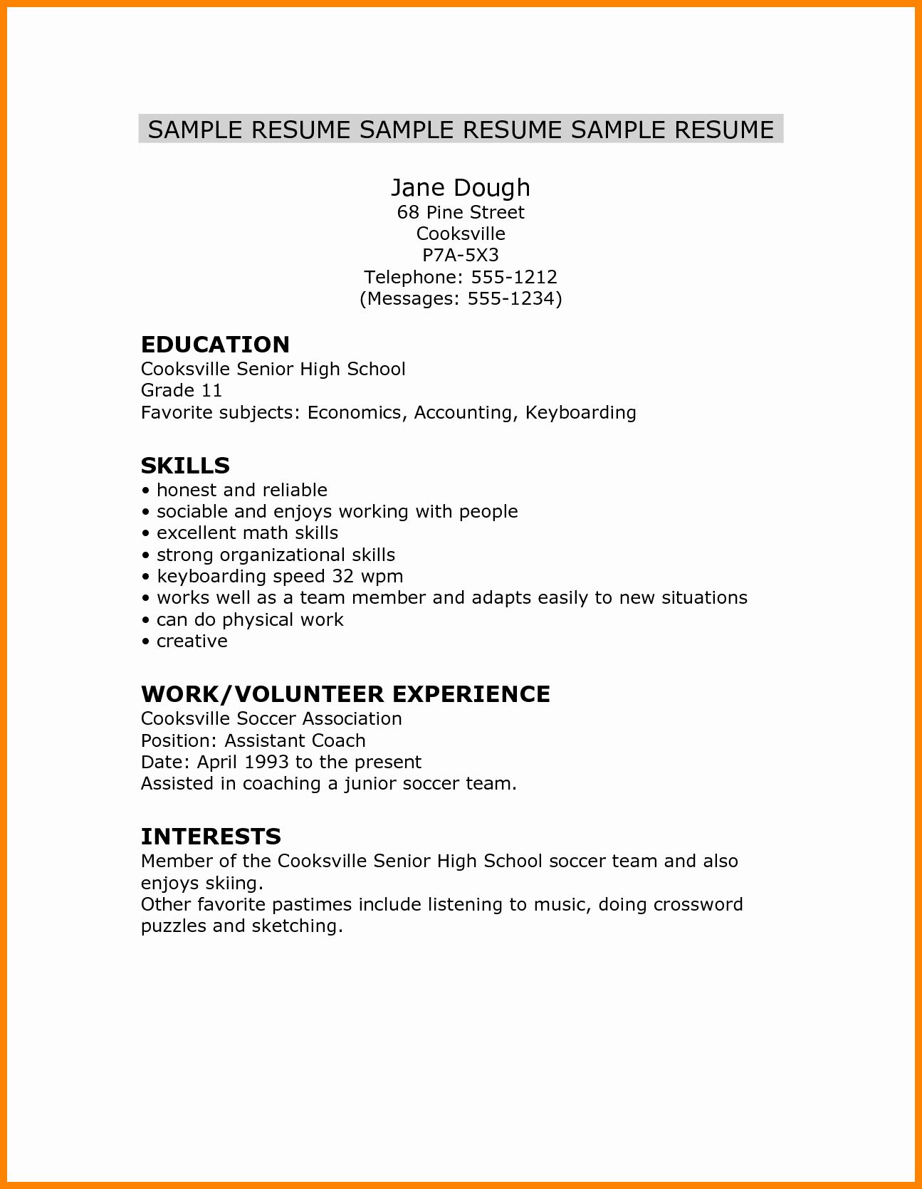 Resume High School Student New 5 Cv Template For High School Student High School Resume High School Resume Template Student Resume