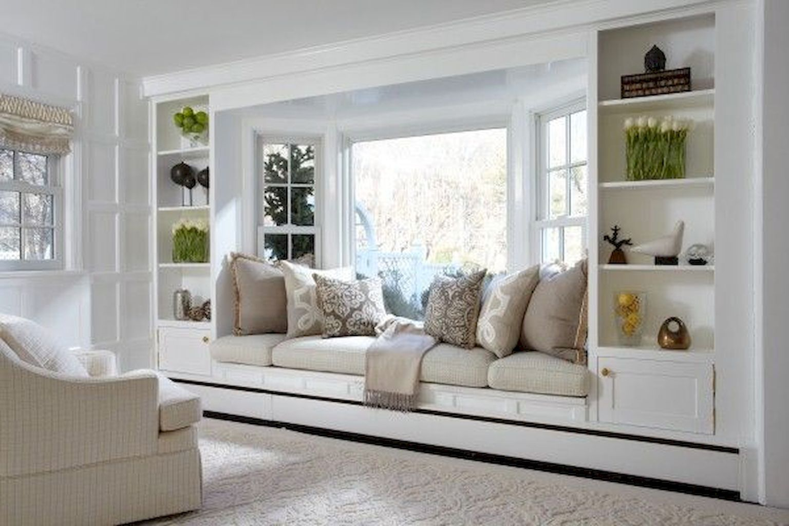 Bay Window Seating With Storage And Book Shelf Part 28 Living