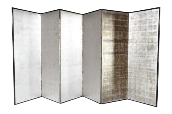 This Japanese Silver Screen Panel Consists Of Six Panels Metal