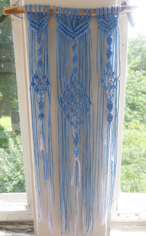 Macrame wall hanging fresh blue wall art bohemian design wall