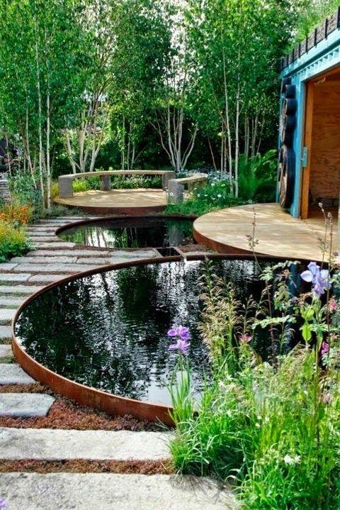 Wunderbar Teichideen, Gartenteich, Wasser, Wasserpflanzen, Sträucher, Blumen, Bäume,  Stein, Natürlich, Rund