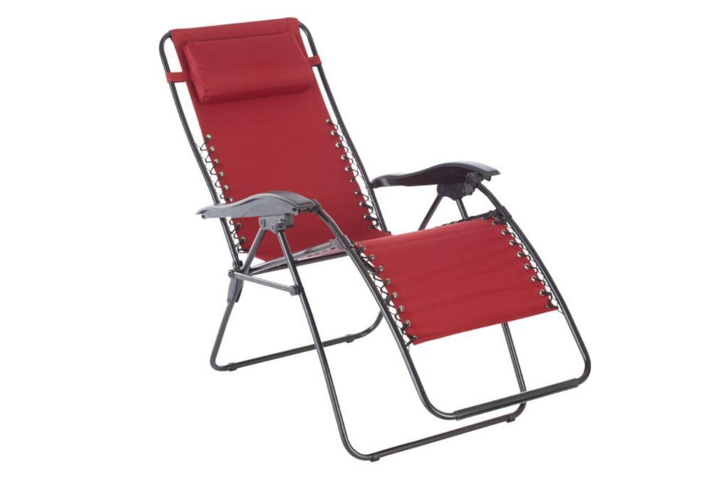 Multi Position Zero Gravity Chaise In Red Outdoor Chairs