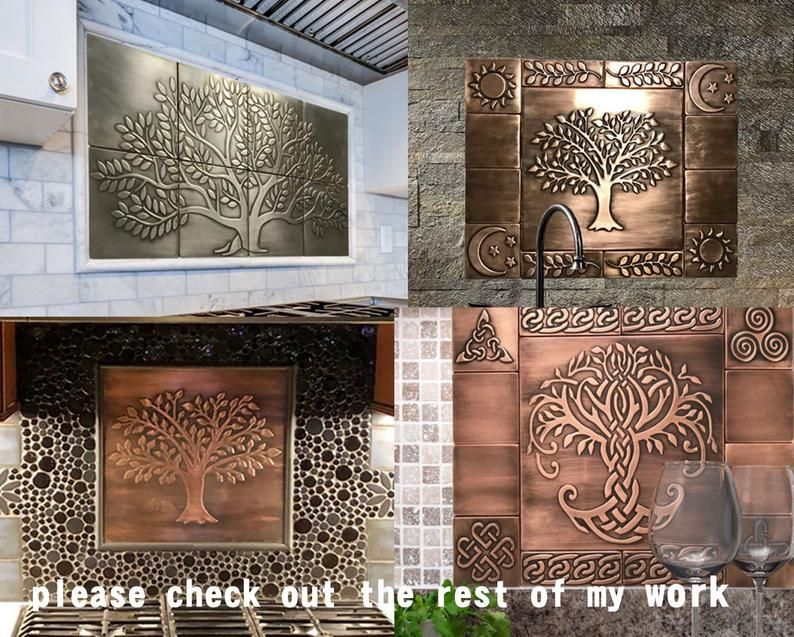 Tree Of Life 8 Handmade 100 Stainless Steel Tiles Perfect For Kitchen Backsplash In 2020 Copper Tiles Handmade Tiles Stainless Steel Tile
