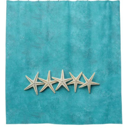 Starfish On Ocean Blue Background Shower Curtain