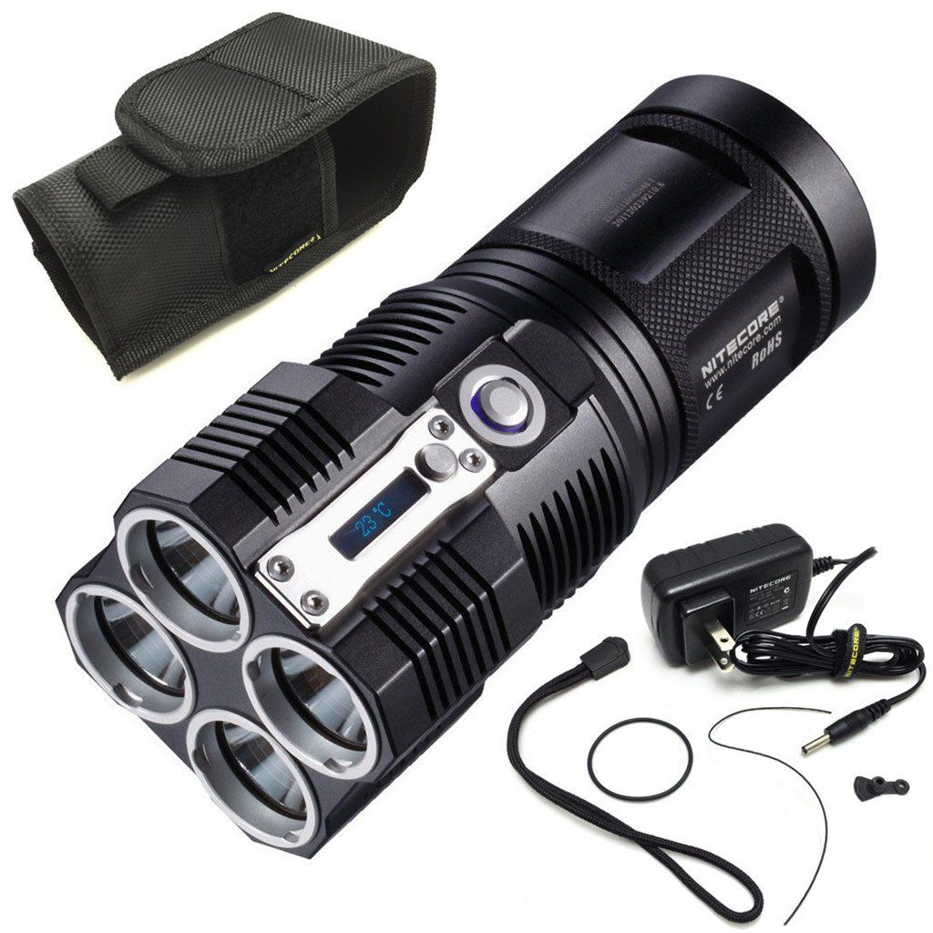 Nitecore Tiny Monster Series Updated 4000 Lumens TM26 Quad Ray XM-L2 LED Flashlight Searchlight Torch. Updated 4000 lumen LED flashlight. Utilizes 4 x CREE XM-L2 LEDs. Integrated multi-function OLED display. Thermal protection circuit prevents overheating. Compatible with both 18650 Li-ion and CR123 batteries.