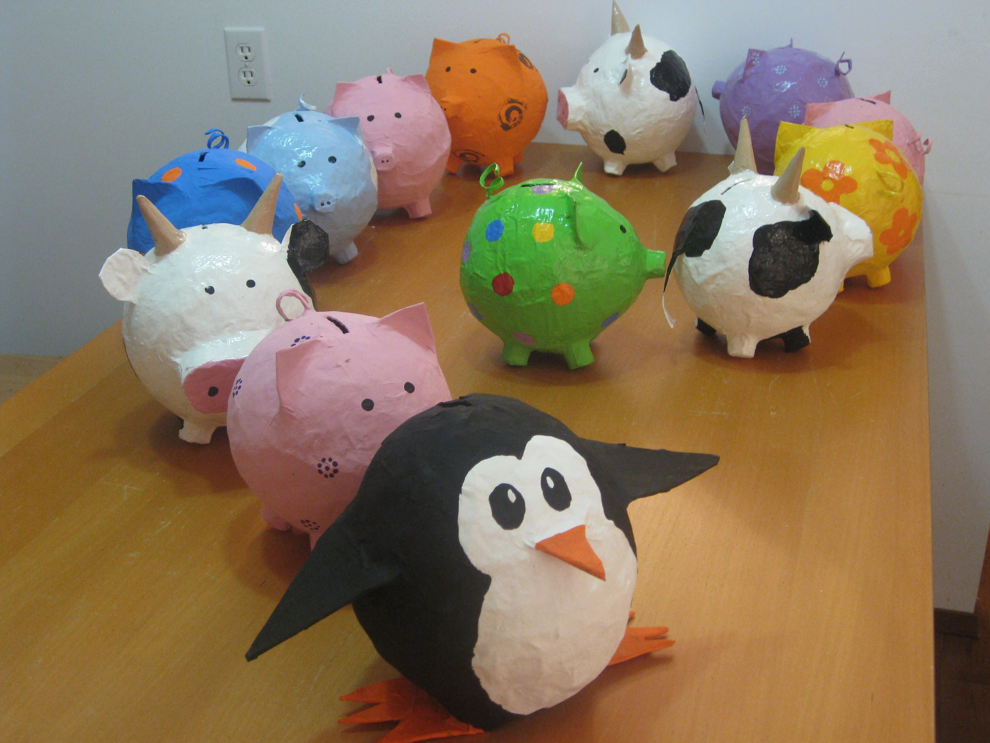 Animal Coin Banks 2011 Follow That Bird Paper Mache Piggy Bank Army