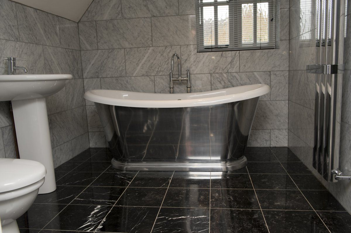 black marble tile floor