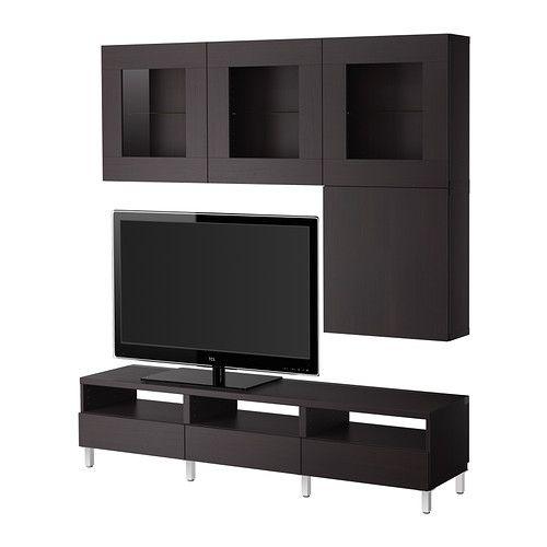 Best Tv Storage Combinationglass Doors Vara Black Brown Ikea