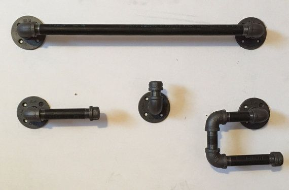 Piece Bathroom Hardware Bath Set Black Steel Pipe Industrial - Industrial bathroom hardware