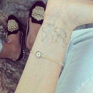 Wrists Tattoo | World map | tattoos | Pinterest | Wrist tattoos ...