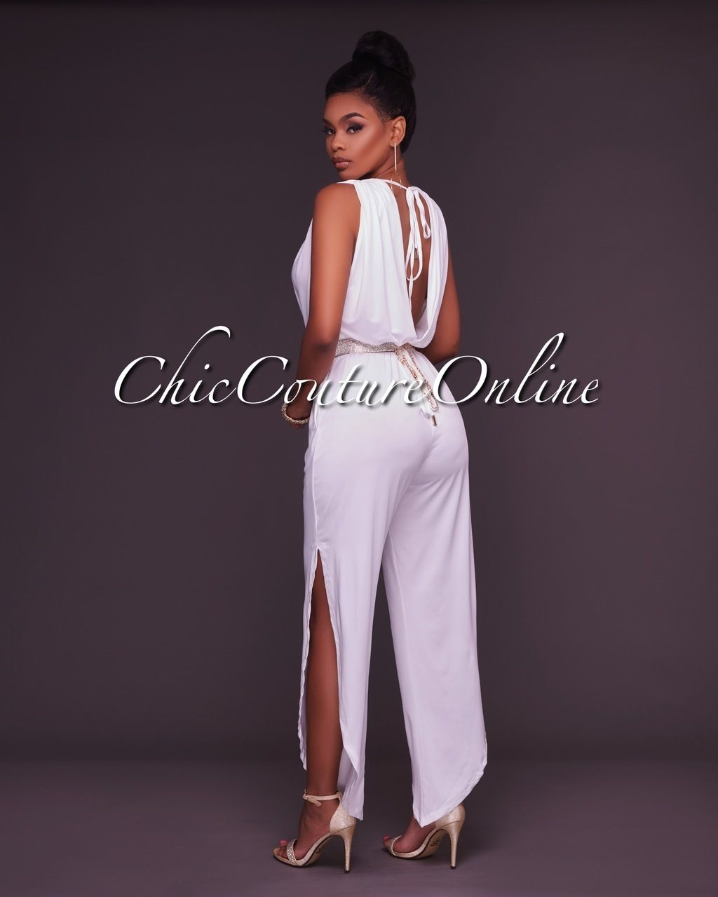 0ed1702093ee Chic Couture Online - Salena White Deep V Jumpsuit