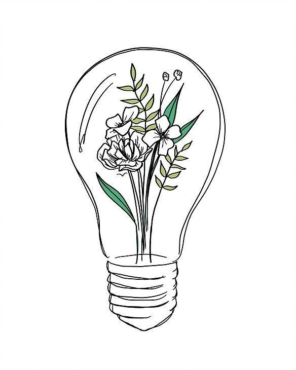 Flowers In A Lightbulb Dessin Ampoule Comment Dessiner Une Fleur Dessin Fleur