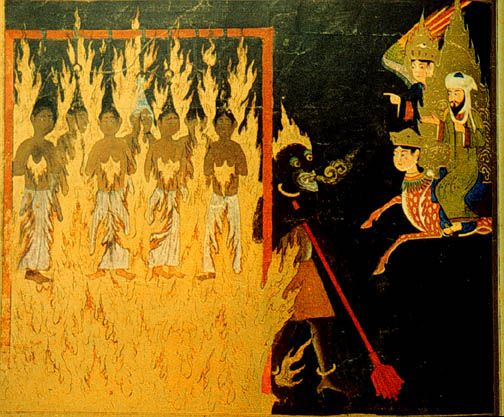 islamic-art-muhammad-watching-demon-punish-shameless-women-in-hell-with-buraq-and-gabriel-who-have-shown-hair-to-strangers-are-strung-up-and-burnt-for-eternity-persian-15th-c.jpg (504×417)