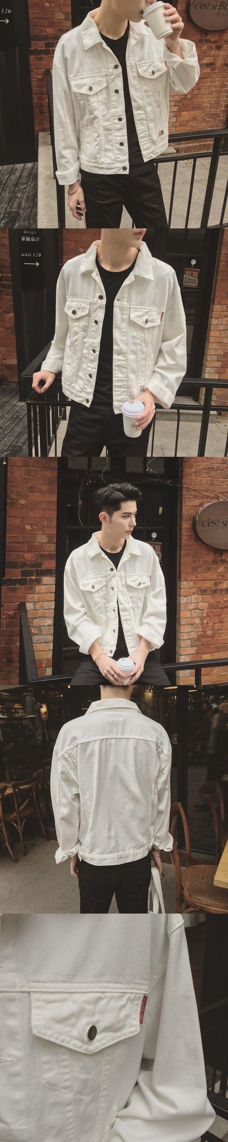 White Denim Jacket Men 2017 New Korean Fashion Mens White Jean Jackets With Flap Pockets At Chest Male White Deni White Jeans Men White Denim Jacket Denim Coat [ 4000 x 800 Pixel ]