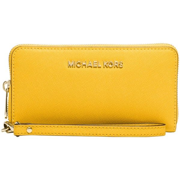 94cd1770f68b MICHAEL Michael Kors Jet Set Travel Leather Multi-Function Purse ($105) ❤  liked on Polyvore featuring bags, handbags, sunflower, genuine leather purse,  ...