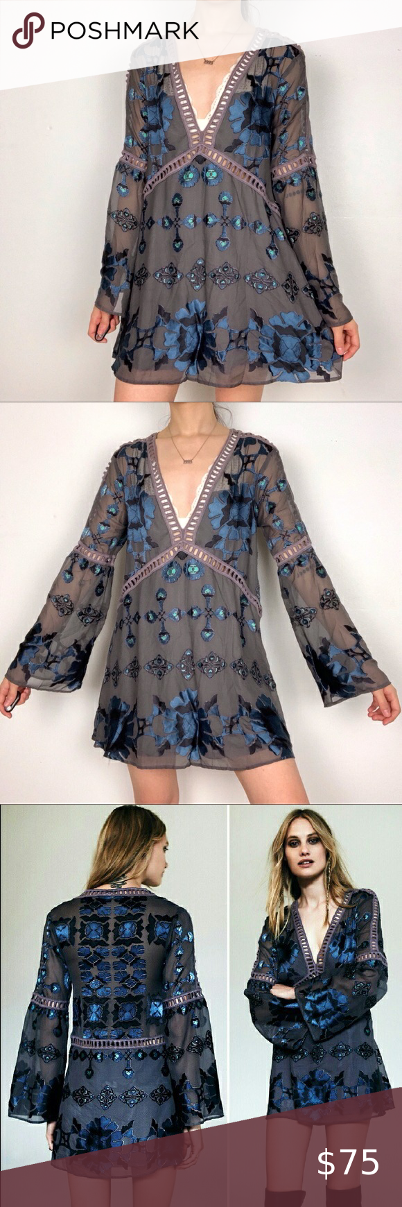 For Love And Lemons Gray Blue Barcelona Mini Dress Mini Dress Clothes Design Floral Mini Dress