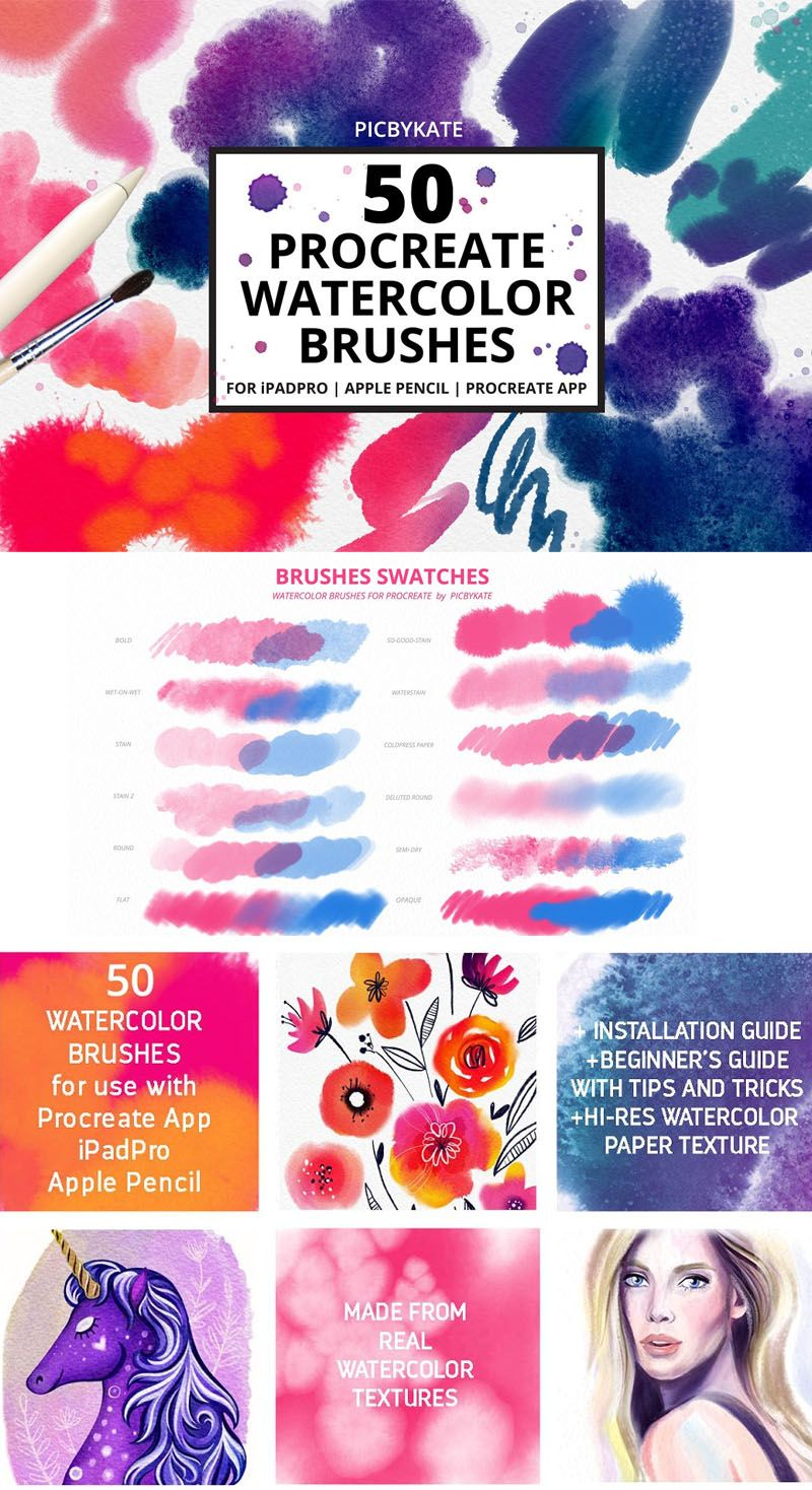 50 Procreate Watercolor Brushes Procreate Brushes For Everyday