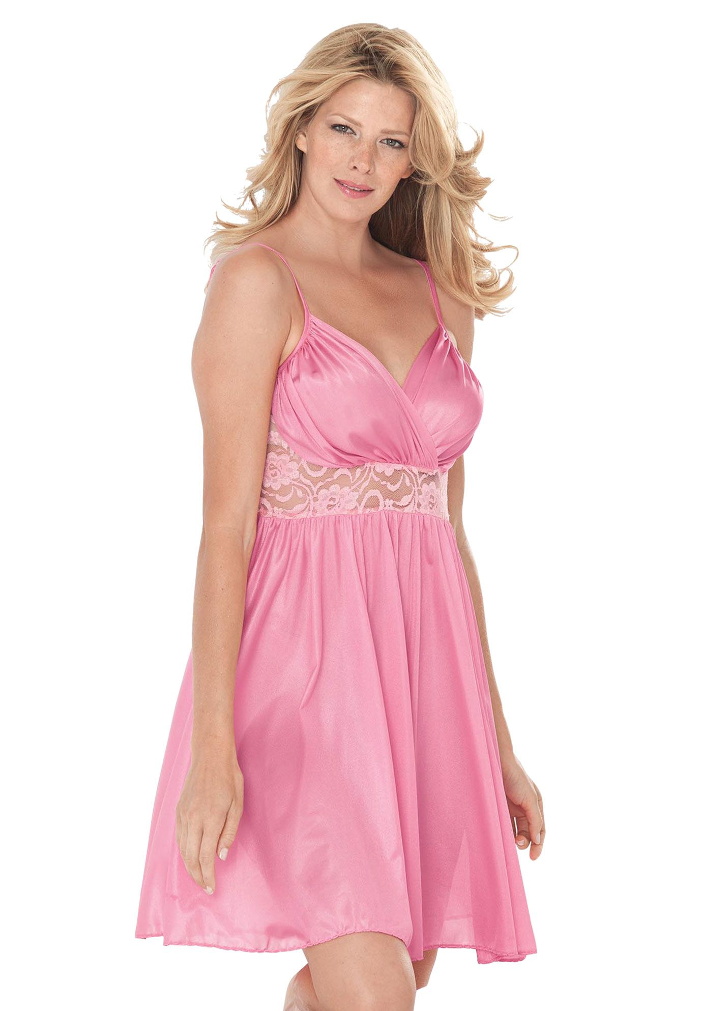 bfbe6da61 Get swept away in the Plus Size tricot and lace babydoll nightgown by  Amoureuse!