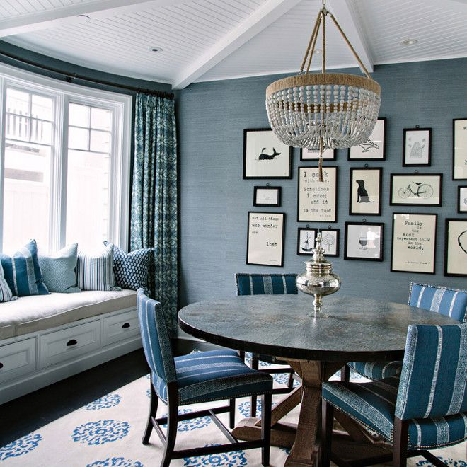 Blue Dining Room With Window Seat. Casual Gallery Wall. Impractical Rug.  Fantastic Ceiling  Blue Dining Room