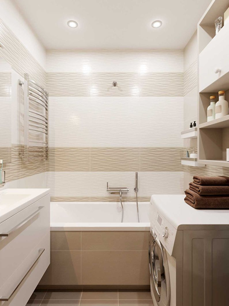 Дизайн ванной комнаты 3 кв.м. в бежевых тонах - фото ...
