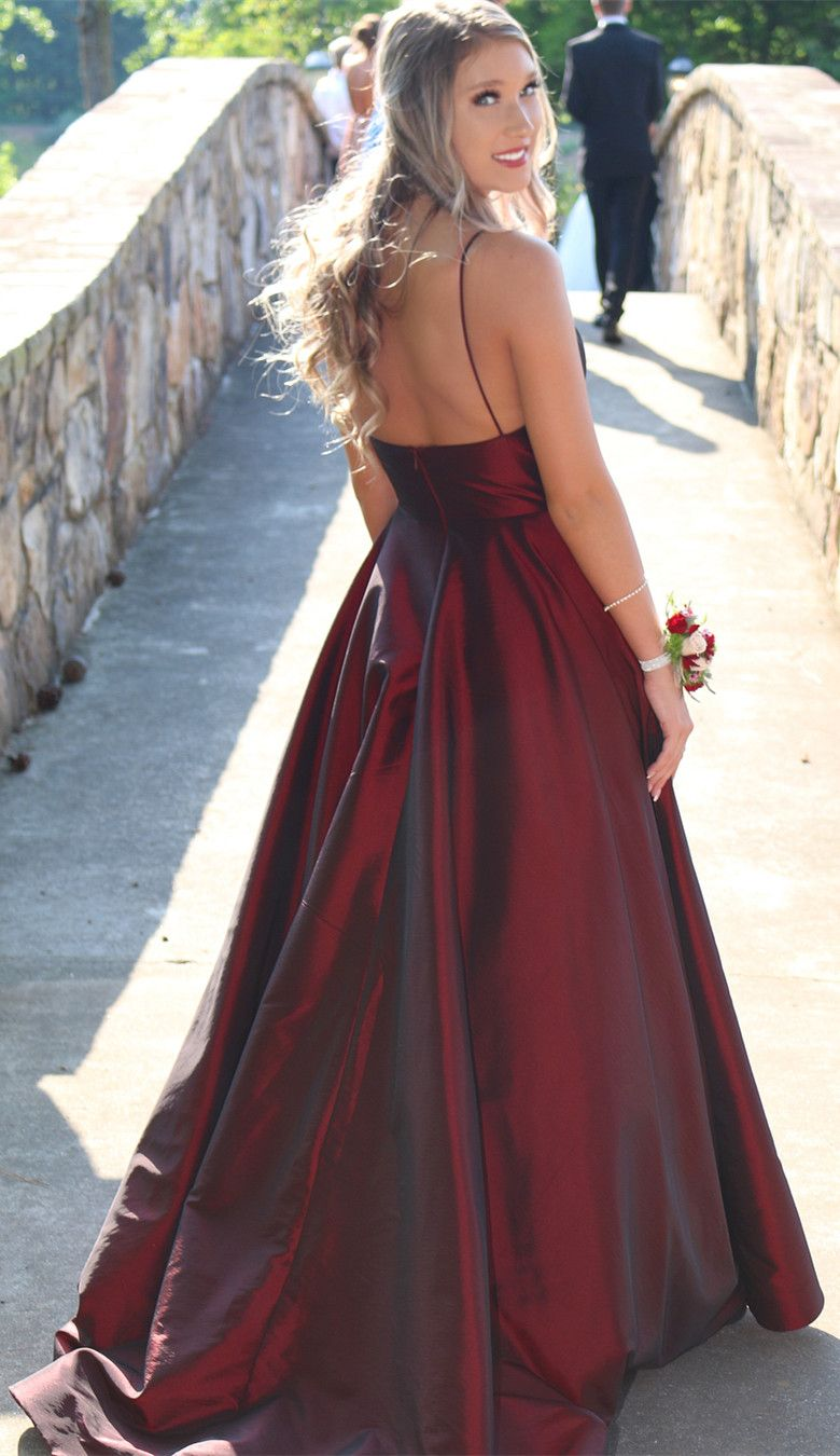 Gorgeous straps burgundy long ball gown from modsele formal