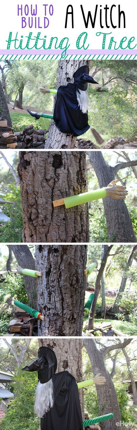 How to Build a Halloween Witch Hitting a Tree Halloween