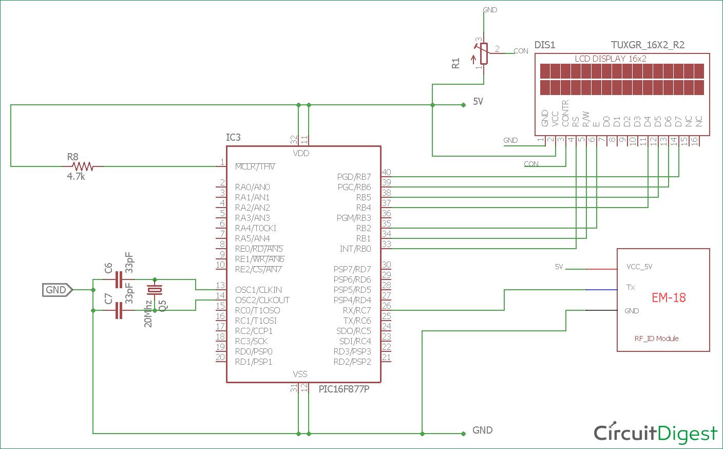 circuit diagram for rfid interfacing with pic microcontroller