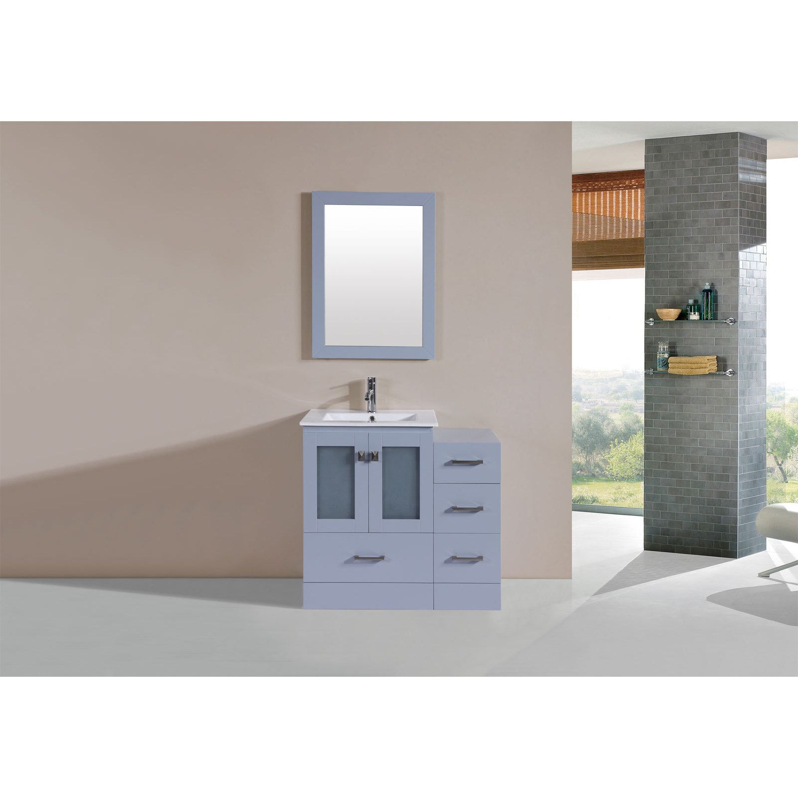 Pacific collection inch hermosa grey single modern vanity with