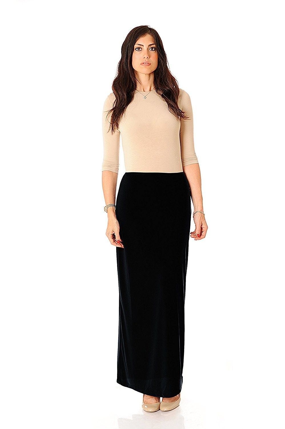 d9d612f7f4 ITY Modest Long Slinky Skirt - Black - CI12LHIR7SX,Women's Clothing, Skirts  #women #fashion #clothing #style #sexy #outfits #Skirts