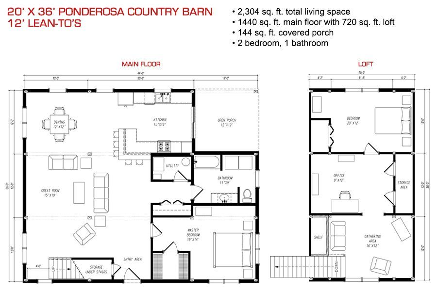 Floor plan pre designed ponderosa country barn home kit for Pre designed home plans