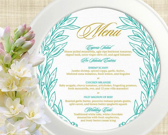 Printable Wedding Menu Card, Wedding Menu Template, DIY Wedding Menu - event menu template