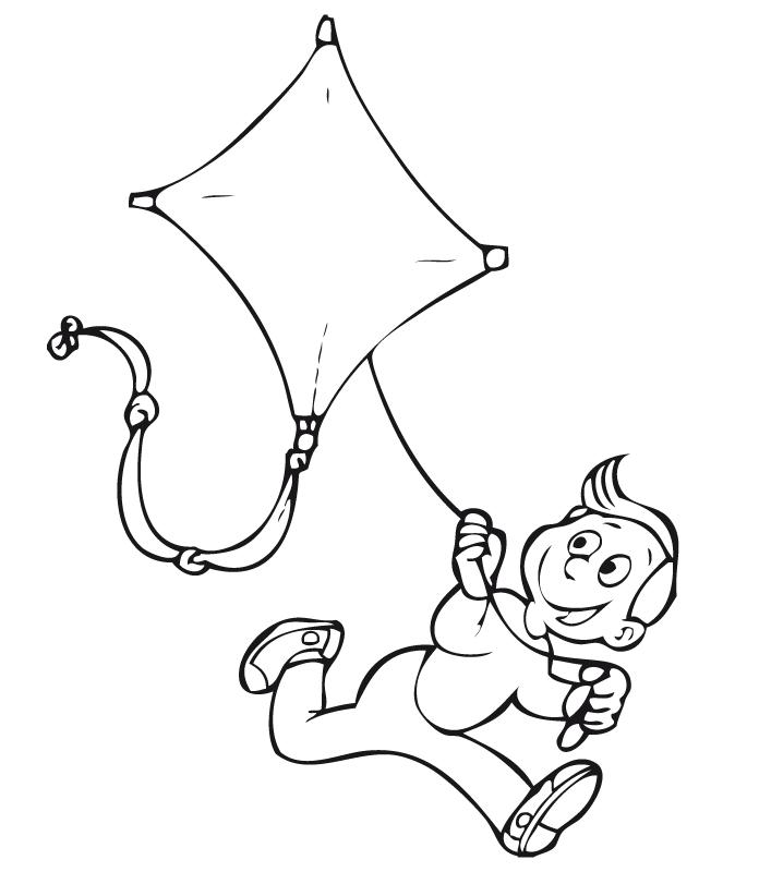 Niño volando una cometa - Dibujalia - Dibujos para colorear ...