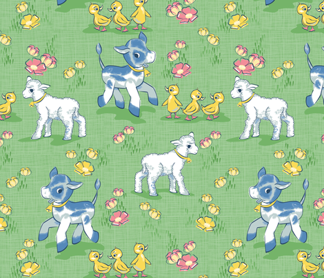 Vintage baby farm animals and buttercups fabric by for Kids horse fabric