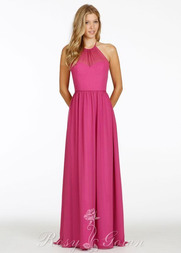Raspberry Chiffon Halter Neck A-line Long Bridesmaid Dress at ...