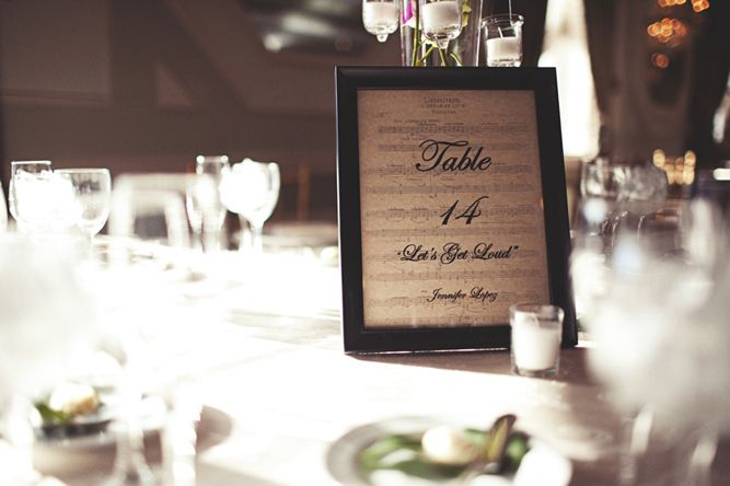 Table numbers (and couple's favourites songs) written on vintage music sheets DIY