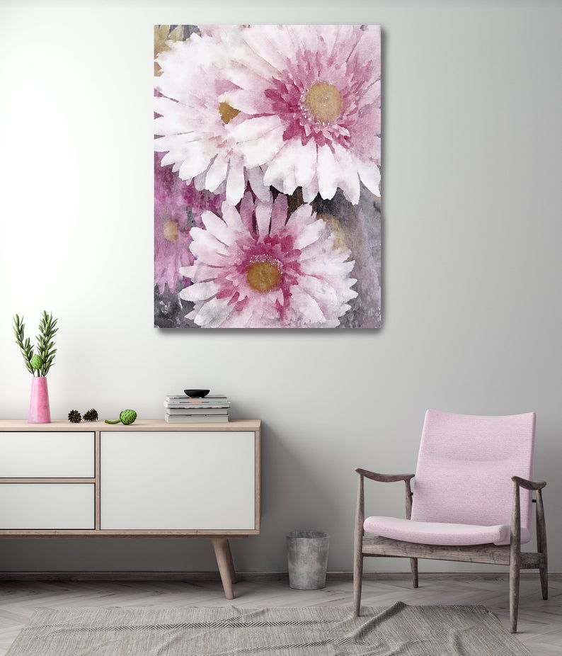 Pleasing Pink Flowers Vintage Still Life Painting Blush Pastel Etsy In 2020 Pink Bedroom Decor Floral Wall Decor Flower Canvas