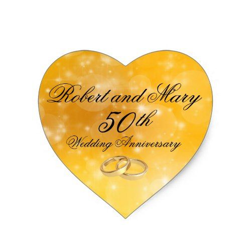 Personalized Gold Heart 50th Anniversary Sticker
