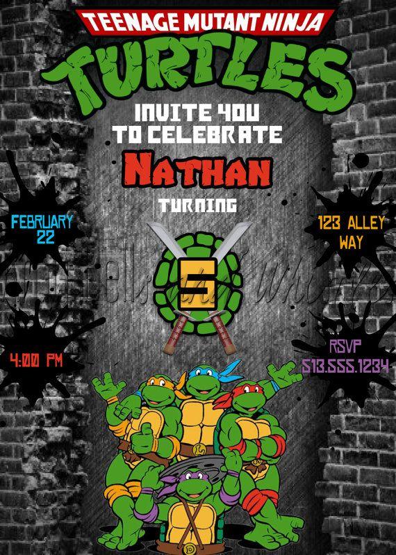 Teenage Mutant Ninja Turtles Birthday Invitation TMNT