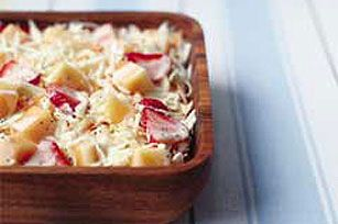 Sweet strawberry slices and cantaloupe chunks are tossed with a coleslaw mix and a tangy blend of MIRACLE WHIP and honey in this unique side salad.